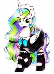 Size: 2541x3510 | Tagged: source needed, safe, artist:liaaqila, princess celestia, queen chrysalis, alicorn, pony, clothes, cute, cute little fangs, disguise, disguised changeling, dress, fangs, green eyes, maid, simple background, solo, white background