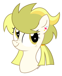 Size: 1269x1547 | Tagged: safe, artist:petruse4ka, oc, oc only, earth pony, pony, bust, ear piercing, earth pony oc, eyelashes, freckles, piercing, simple background, smiling, solo, transparent background