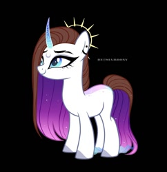 Size: 1080x1117 | Tagged: safe, artist:sia.brony, oc, oc only, unicorn, black background, colored hooves, ear piercing, earring, ethereal mane, eyelashes, eyeliner, female, horn, jewelry, makeup, mare, piercing, simple background, smiling, solo, starry mane, unicorn oc
