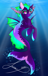 Size: 1318x2088   Tagged: safe, artist:shadowdash44, oc, oc only, merpony, seapony (g4), bubble, crepuscular rays, dorsal fin, eyelashes, fin wings, fins, fish tail, flowing tail, looking at you, ocean, pink eyes, signature, smiling, solo, sunlight, swimming, tail, underwater, water, wings