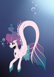 Size: 689x968   Tagged: safe, artist:nathy2001, oc, oc only, merpony, bubble, crepuscular rays, dorsal fin, fins, fish tail, flowing mane, flowing tail, gem, ocean, smiling, solo, sunlight, swimming, tail, underwater, water