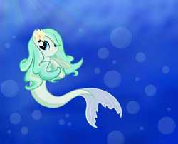 Size: 2531x2043   Tagged: safe, artist:mappymaples, oc, oc only, merpony, seapony (g4), blue eyes, bubble, crepuscular rays, female, fish tail, flower, flower in hair, flowing tail, ocean, solo, swimming, tail, underwater, water