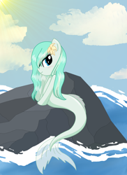 Size: 1700x2338   Tagged: safe, artist:mappymaples, oc, oc only, seapony (g4), blue eyes, cloud, dorsal fin, female, flower, flower in hair, flowing tail, ocean, rock, sky, solo, sun, sunlight, tail, water