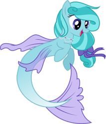 Size: 2261x2653   Tagged: safe, artist:mappymaples, oc, oc only, seapony (g4), blue mane, commission, female, fin wings, flowing mane, flowing tail, jewelry, necklace, open mouth, pearl necklace, purple eyes, ribbon, simple background, smiling, solo, tail, transparent background, wings