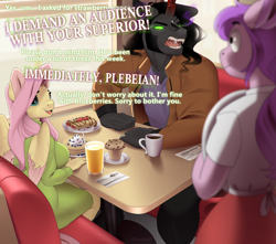Size: 1016x900   Tagged: safe, artist:evehly, fluttershy, king sombra, oc, pegasus, unicorn, anthro, alternate hairstyle, angry, big breasts, breakfast, breasts, busty fluttershy, clothes, coat, coffee, coffee mug, commission, crepe, cute, dialogue, diner, disproportionate retribution, fangs, female, food, fork, glowing eyes, karen, karen sombra, knife, male, mare, muffin, mug, napkin, open mouth, pancakes, rage, sexy, sharp teeth, shipping, shirt, shyabetes, skirt, sombra eyes, sombrashy, stallion, straight, sweater, sweater dress, sweater puppies, sweatershy, table, teeth, this will end in tears, turtleneck, waitress