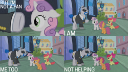 Size: 1280x720 | Tagged: safe, edit, edited screencap, editor:quoterific, screencap, apple bloom, lockdown, scootaloo, sweetie belle, earth pony, pegasus, pony, unicorn, for whom the sweetie belle toils, season 4, apple bloom's bow, bow, cutie mark crusaders, female, filly, hair bow, male, open mouth, security guard, smiling, stallion