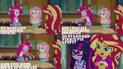 Size: 1280x720 | Tagged: safe, edit, edited screencap, editor:quoterific, screencap, fluttershy, pinkie pie, sci-twi, sunset shimmer, twilight sparkle, equestria girls, legend of everfree, belt, camp everfree outfits, clothes, crossed arms, female, food, glasses, hairpin, open mouth, ponytail, sprinkles, tanktop