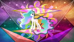 Size: 3840x2160 | Tagged: safe, artist:laszlvfx, artist:thatusualguy06, edit, princess celestia, alicorn, pony, female, mare, missing accessory, solo, wallpaper, wallpaper edit