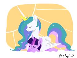 Size: 1200x900 | Tagged: safe, artist:epuji-d, princess celestia, twilight sparkle, alicorn, pony, unicorn, cute, cutelestia, duo, eyes closed, female, lying down, mare, momlestia, pixiv, profile, prone, sleeping, sploot, sun, twiabetes, unicorn twilight, wing blanket, winghug, wings