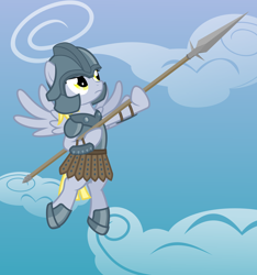 Size: 3000x3200   Tagged: safe, artist:the smiling pony, derpy hooves, pegasus, pony, .svg available, armor, armor skirt, clothes, cloud, flying, frown, helmet, skirt, solo, spear, spread wings, svg, vector, weapon, wings