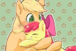 Size: 1024x692 | Tagged: safe, artist:ashitaka_kiyu, apple bloom, applejack, earth pony, pony, blushing, eyes closed, female, filly, grin, hug, mare, siblings, sisters, smiling