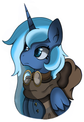 Size: 543x791 | Tagged: safe, artist:orbitingdamoon, princess luna, alicorn, pony, fallout equestria, clothes, goggles, hood, horn, scarf, simple background, solo, transparent background, wings