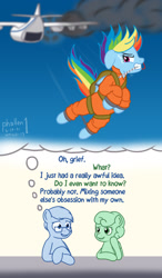 Size: 1000x1716 | Tagged: safe, artist:phallen1, derpibooru exclusive, rainbow dash, oc, oc:software patch, oc:windcatcher, atg 2021, bound wings, chained, clothes, colored sketch, cuffs, dialogue, escape, falling, gritted teeth, jumpsuit, mouth hold, newbie artist training grounds, parachute, plane, prison outfit, prisoner rd, pulling, shitposting, smoke, teary eyes, wings