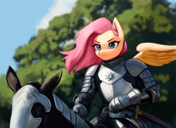 Size: 2000x1458 | Tagged: safe, artist:mrscroup, fluttershy, horse, pegasus, anthro, armor, cloud, flutterknight, knight, riding, sky, sword, tree, weapon