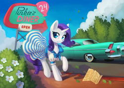 Size: 1400x990 | Tagged: safe, artist:asimos, rarity, pony, unicorn, 1950s, 50s, bow, car, clothes, cute, diner, dress, female, flower, implied pinkie pie, mare, raribetes, sign, solo