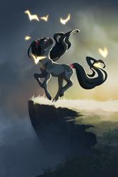 Size: 1600x2400 | Tagged: safe, artist:joan-grace, oc, oc:jasper, earth pony, pony, cliff, female, mare, solo