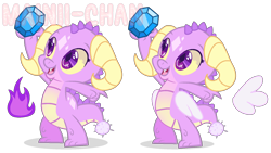 Size: 1932x1092 | Tagged: safe, artist:maiii-san, oc, oc only, dragon, dragon oc, duo, gem, horns, reference sheet, simple background, transparent background