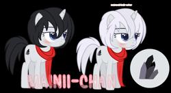 Size: 2193x1189 | Tagged: safe, artist:maiii-san, oc, oc only, pony, unicorn, blushing, clothes, duo, eyelashes, female, horn, mare, scarf, simple background, transparent background, unicorn oc
