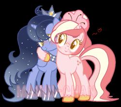 Size: 674x599 | Tagged: safe, artist:maiii-san, oc, oc only, oc:cherry bloom, alicorn, pony, unicorn, alicorn oc, blushing, ethereal mane, female, heart, hoof shoes, horn, mare, side hug, simple background, smiling, starry mane, transparent background, unicorn oc, unshorn fetlocks, wings