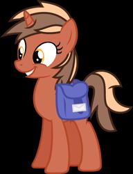 Size: 1383x1804 | Tagged: safe, artist:pegasski, oc, oc only, oc:softbox, pony, unicorn, bag, base used, eyelashes, female, grin, horn, mare, saddle bag, simple background, smiling, solo, transparent background, unicorn oc