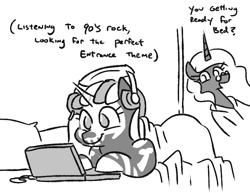 Size: 702x543 | Tagged: safe, artist:jargon scott, oc, oc:nyx, oc:nyxzala, alicorn, hybrid, pony, unicorn, zony, black and white, computer, duo, female, grayscale, headphones, laptop computer, lying down, magical lesbian spawn, monochrome, mother and child, mother and daughter, offspring, older, older nyx, parent:oc:nyx, parent:oc:zala, parents:oc x oc, prone