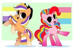 Size: 2673x1811 | Tagged: safe, artist:syrupyyy, applejack, pinkie pie, earth pony, pony, applejack's hat, bipedal, bow, cowboy hat, cute, diapinkes, duo, female, freckles, hat, jackabetes, mare, nonbinary, nonbinary pride flag, open mouth, pansexual, pansexual pride flag, pride, pride flag, pride month, raised hoof, tail bow