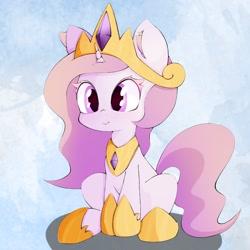Size: 1024x1024 | Tagged: safe, artist:zokkili, princess celestia, pony, unicorn, cewestia, crown, cute, cutelestia, ear fluff, female, filly, hoof shoes, jewelry, race swap, regalia, sitting, solo, unicorn celestia, younger