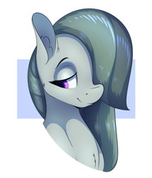 Size: 1800x2100 | Tagged: safe, artist:aquaticvibes, marble pie, earth pony, pony, bust, cute, ear fluff, female, hair over one eye, lidded eyes, marblebetes, mare, portrait, simple background, smiling, solo, white background