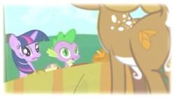 Size: 1280x720 | Tagged: safe, edit, edited screencap, screencap, spike, twilight sparkle, deer, dragon, pony, unicorn, friendship is magic, season 1, lost episode, lost media, my little pony adventures, shocked, shocked expression, show bible, unicorn twilight