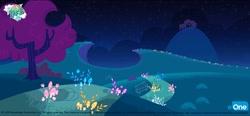 Size: 1400x647 | Tagged: safe, artist:mcguinnessjohn, my little pony: pony life, official, pony life, potion mystery, bench, bush, concept art, eone, grass, hill, logo, mushroom, my little pony logo, night, no pony, path, scenery, text, trail, tree