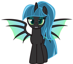 Size: 6099x5367 | Tagged: safe, artist:severity-gray, derpibooru exclusive, twilight sparkle, alicorn, changeling, hybrid, absurd resolution, alternate hairstyle, changeling hybrid, changelingified, eyeshadow, fangs, female, grin, lidded eyes, looking at you, makeup, mare, show accurate, simple background, smiling, solo, species swap, spread wings, transformation, transparent background, twilight sparkle (alicorn), wings