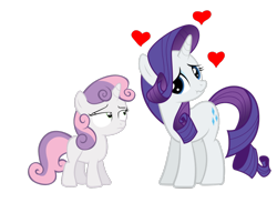 Size: 1300x1000   Tagged: safe, rarity, sweetie belle, pony, unicorn, affection, blank flank, duo, female, scrunchy face, siblings, simple background, sisters, white background
