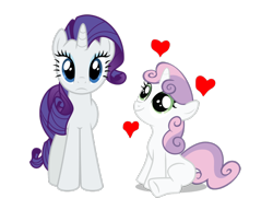 Size: 1300x1000   Tagged: safe, rarity, sweetie belle, pony, unicorn, affection, duo, female, siblings, simple background, sisters, white background