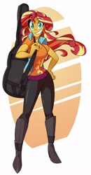 Size: 2132x4096 | Tagged: safe, artist:light262, sunset shimmer, equestria girls, dreamworks face, eyebrows, eyebrows visible through hair, female, grin, guitar, guitar case, hand on hip, high res, looking at you, musical instrument, no pupils, smiling, smiling at you, solo, sunset shredder