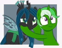 Size: 1280x995 | Tagged: safe, artist:chip16, queen chrysalis, oc, oc:chain whip, changeling, pony, unicorn, canon x oc, chaisalis, crown, female, jewelry, male, mare, regalia, stallion, straight
