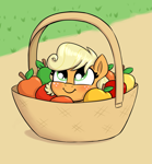 Size: 1899x2055 | Tagged: safe, artist:heretichesh, applejack, earth pony, pony, apple, basket, blushing, cute, daaaaaaaaaaaw, female, filly, filly applejack, food, jackabetes, pony in a basket, smiling, solo, weapons-grade cute, younger