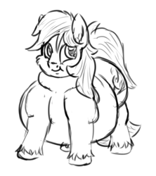 Size: 400x450 | Tagged: safe, artist:jailriot, oc, oc only, oc:cottonwood kindle, earth pony, pony, belly, big belly, bingo wings, cheek fluff, double chin, ear fluff, fat, fat fetish, fetish, grayscale, looking at you, male, monochrome, obese, simple background, sketch, smiling, smiling at you, solo, stallion, unshorn fetlocks, white background