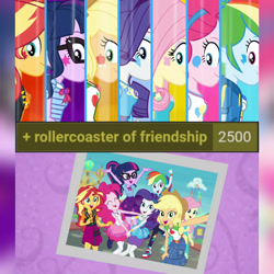 Size: 1920x1920 | Tagged: safe, edit, edited screencap, editor:itsmgh1203, screencap, applejack, fluttershy, pinkie pie, rainbow dash, rarity, sci-twi, sunset shimmer, twilight sparkle, derpibooru, equestria girls, equestria girls series, rollercoaster of friendship, ^^, applejack's hat, belt, bowtie, bracelet, clothes, cowboy hat, cute, cutie mark, cutie mark on clothes, dashabetes, denim skirt, diapinkes, equestria land, eyes closed, female, geode of empathy, geode of fauna, geode of shielding, geode of sugar bombs, geode of super speed, geode of super strength, geode of telekinesis, glasses, hairpin, hat, hoodie, humane five, humane seven, humane six, jackabetes, jacket, jewelry, jumping, leather, leather jacket, magical geodes, meta, necklace, open mouth, photo booth (song), ponytail, raribetes, rarity peplum dress, selfie, shimmerbetes, shoes, shyabetes, side view, skirt, smiling, sneakers, tags, tanktop, transformation, twiabetes