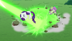 Size: 1920x1080 | Tagged: safe, screencap, rarity, spike, dragon, pony, unicorn, the ending of the end, eyes closed, female, male, mare, winged spike
