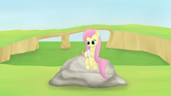 Size: 3840x2160 | Tagged: safe, artist:astralr, fluttershy, pegasus, pony, cup, female, grass, mare, outdoors, rock, sitting, sky, solo