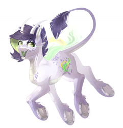 Size: 1280x1326 | Tagged: safe, artist:artistgenepal, oc, oc only, oc:inspiration goldsmith, dracony, hybrid, fangs, female, forked tongue, frog (hoof), horns, horseshoes, interspecies offspring, leonine tail, offspring, open mouth, parent:rarity, parent:spike, parents:sparity, simple background, smiling, solo, underhoof, white background