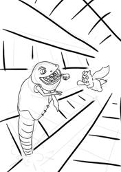 Size: 571x810 | Tagged: safe, artist:carpdime, oc, oc:senator sandworm, oc:supe_fluff, fluffy pony, fluffy pony original art, sketch, superhero, weirdbox