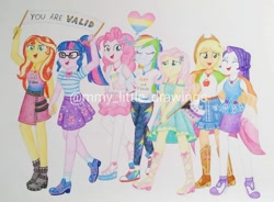 Size: 1080x793 | Tagged: safe, artist:mmy_little_drawings, applejack, fluttershy, pinkie pie, rainbow dash, rarity, sci-twi, sunset shimmer, twilight sparkle, equestria girls, equestria girls series, rollercoaster of friendship, applejack's hat, balloon, boots, bowtie, clothes, cowboy boots, cowboy hat, cutie mark, cutie mark on clothes, denim skirt, eyes closed, female, geode of empathy, geode of fauna, geode of shielding, geode of sugar bombs, geode of super speed, geode of super strength, geode of telekinesis, glasses, hairpin, hat, high heels, humane five, humane seven, humane six, magical geodes, open mouth, photo booth (song), ponytail, pride month, rarity peplum dress, sandals, shoes, skirt, smiling, sneakers, tanktop