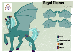 Size: 4961x3508 | Tagged: safe, artist:oneiria-fylakas, oc, oc:royal thorns, bat pony, pony, male, reference sheet, solo, stallion
