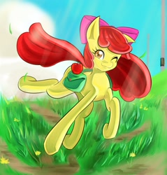 Size: 2250x2350 | Tagged: safe, artist:uguisunokoe1919, apple bloom, earth pony, pony, bag, female, filly, looking at you, one eye closed, saddle bag, smiling, solo, wink, winking at you