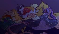 Size: 1608x923 | Tagged: safe, artist:courtjesterart, applejack, fluttershy, pinkie pie, rainbow dash, rarity, twilight sparkle, alicorn, earth pony, pegasus, pony, unicorn, female, lesbian, mane six, mare, omniship, polyamory, pony pile, shipping, sleeping, twilight sparkle (alicorn)