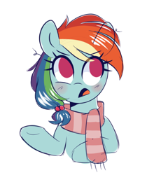 Size: 684x778 | Tagged: safe, artist:darkynez, rainbow dash, pegasus, pony, bust, clothes, cute, scarf, simple background, solo, white background