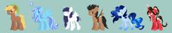Size: 19981x3858 | Tagged: safe, artist:erim-kawamori, quarter hearts, oc, oc only, oc:healing drop, oc:misty vision, oc:sakura flow, oc:spinning gears, oc:star dancer, earth pony, pegasus, pony, unicorn, blue background, female, mare, simple background
