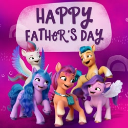 Size: 1080x1080 | Tagged: safe, hitch trailblazer, izzy moonbow, pipp petals, sunny starscout, zipp storm, earth pony, pegasus, pony, unicorn, g5, official, facebook, father's day, mane five (g5), text