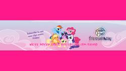 Size: 2546x1433 | Tagged: safe, applejack, fluttershy, pinkie pie, rainbow dash, rarity, twilight sparkle, alicorn, earth pony, pegasus, pony, unicorn, female, mane six, my little pony logo, twilight sparkle (alicorn), youtube banner